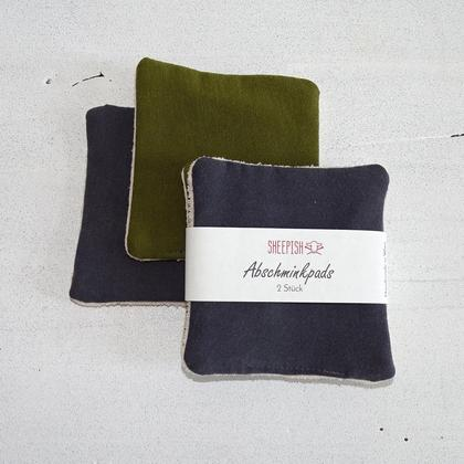 Abschminkpads upcycling 2 Stk graublau, olive