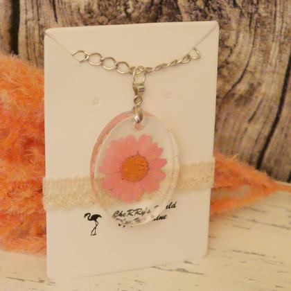 "Kette Blume ""Margerite rosa"" oval"