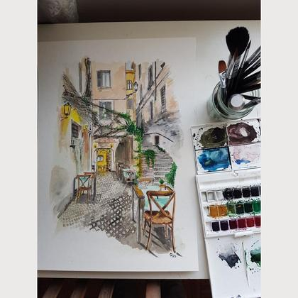 "Aquarell ""Nizza"""